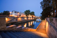 Seine in Paris near Notre Dame. Royalty Free Stock Images