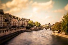 Seine Paris Tilt-shift. Tilt-shift miniature view of the River Seine from Paris with vintage filter effect Royalty Free Stock Photography