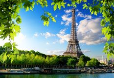Seine in Paris with tower Stock Images