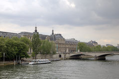 Seine quay and The Louvre Museum. Paris, France Royalty Free Stock Photography