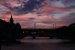 Seine red sunset royalty free stock photography
