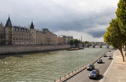Seine River. View of the Seine River along the road and bridge fund Royalty Free Stock Image