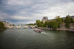 Seine river against a dramatic sky Stock Images