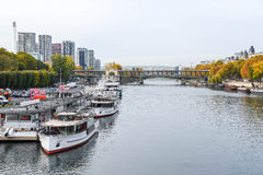 Seine River in autumn of Paris, France Royalty Free Stock Images