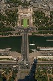 Seine River with boats, Trocadero and Eiffel Tower shadow under blue sky in Paris. Royalty Free Stock Photos