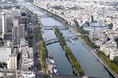 Seine river and bridges view from an aerial view royalty free stock images