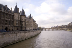 Seine river and castle Royalty Free Stock Photo