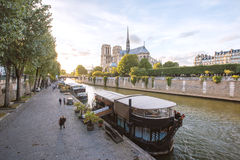 Seine River and The Cathedral of Notre Dame de Paris, France Royalty Free Stock Image