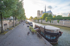 Seine River and The Cathedral of Notre Dame de Paris, France Royalty Free Stock Photos