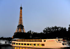 Seine river and Eiffel Tower. Paris Sightseeing Boats  under Eiffel tower Royalty Free Stock Images