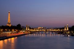 Seine river and Eiffel Tower. Eiffel Tower at night as it seems from the Seine river Stock Photos
