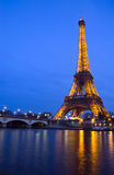 Seine river and Eiffel Tower Stock Images