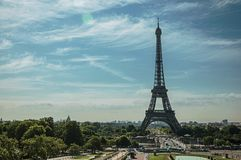 Seine River, Eiffel Tower and gardens under sunny blue sky, seen from the Trocadero in Paris. stock photos