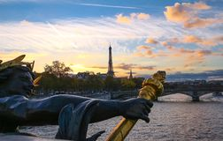 The Seine river and Eiffel Tower seen pont Alexandre III. The Seine river and Eiffel Tower seen pont Alexandre III . Eiffel Tower is the French most visited Royalty Free Stock Photography