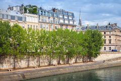 Seine river embankment with trees and old houses Stock Photo