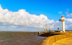 Seine River estuary and Normandy bridge Royalty Free Stock Photos