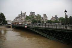 Seine River flod i Paris på Juni 02, 2016 Royaltyfria Bilder
