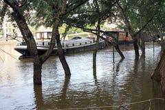 Seine river flood in Paris Stock Image