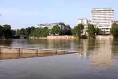 Seine river flood in Paris Royalty Free Stock Photo