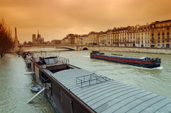 Seine river flood in Paris Royalty Free Stock Photography