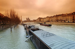 Seine river flood in Paris Royalty Free Stock Photos
