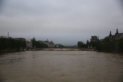 Seine river flood in Paris Stock Photo