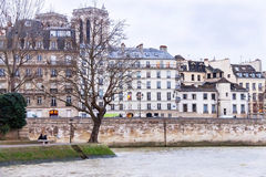 Seine river, houses, relaxing people and coast of Paris. Stock Images