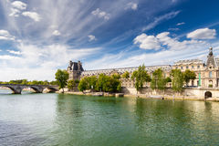 Seine river and museum Louvre. Royalty Free Stock Image