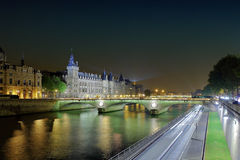 The Seine river at night Stock Images