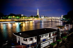 Seine river at night Stock Images