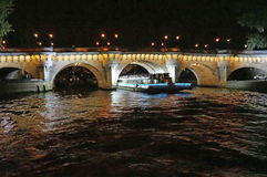 Seine River at Night in Paris France Stock Photography