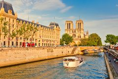 Seine river and Notre Dame cathedral Stock Photo