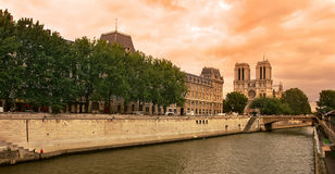 Seine river and Notre Dame de Paris cathedral. Royalty Free Stock Images