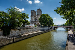 Seine River and Notre Dame de Paris Cathedral, Paris Royalty Free Stock Photography
