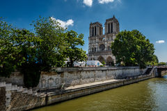 Seine River and Notre Dame de Paris Cathedral, Paris Royalty Free Stock Images
