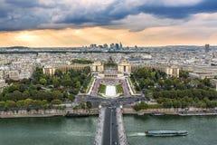 Seine River och Trocadero i Paris Arkivbilder