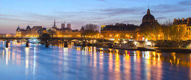 Seine river and Old Town of Paris (France) Royalty Free Stock Images