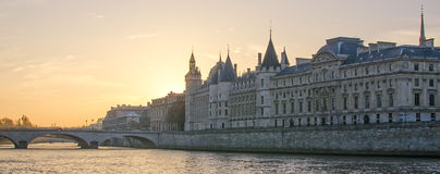 Seine river and Old Town of Paris (France) Stock Images