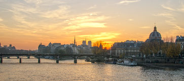 Seine river and Old Town of Paris (France) Stock Photography