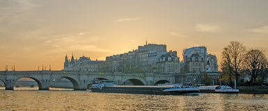 Seine river and Old Town of Paris (France) Royalty Free Stock Image
