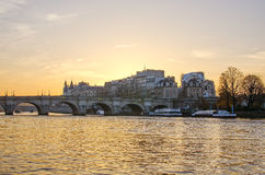 Seine river and Old Town of Paris in the sunrise Royalty Free Stock Photo