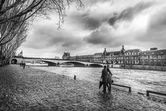 Seine river and Orsay Museum in monochrome settings Stock Photo