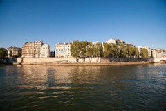 Seine River in Paris, France. Neer the Eiffel Tower on bateau-mouche Royalty Free Stock Image