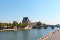 Seine river , Paris. Seine river at Louvre museum, Paris, France Stock Photography