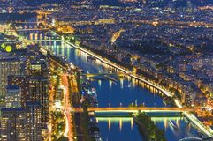 Seine river in Paris. Night scene. From Eiffel Tower Royalty Free Stock Image