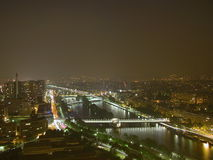 Seine River, Paris, 2005. Night shot of the Seine River from the Eiffel Tower, Paris, France, 2005 stock photography