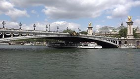 Seine River Paris, People Tourists Boats Traveling in Sunset, Ships Trip stock video