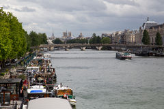 Seine River Paris - 04. The Seine River in Paris during a summer evening Royalty Free Stock Photos