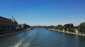 Seine river paris urban nature stock photo