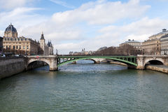 Seine river and Pont de Notre Dame in Paris Royalty Free Stock Photos